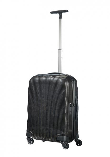 a 55cm Black Samsonite Cosmolite Suitcase