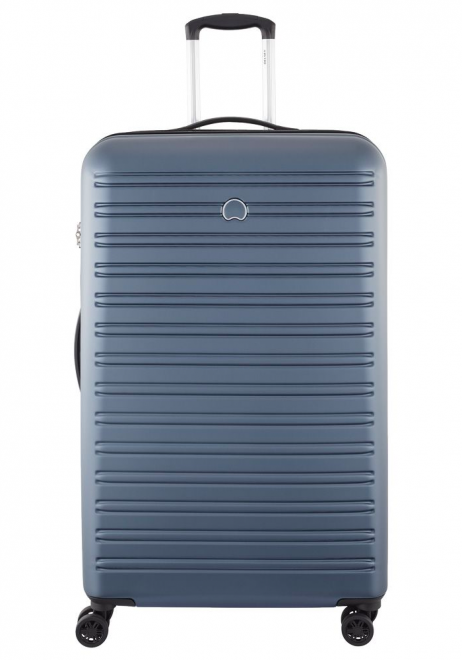Front View of a Blue Delsey Segur 81cm Spinner Suitcase