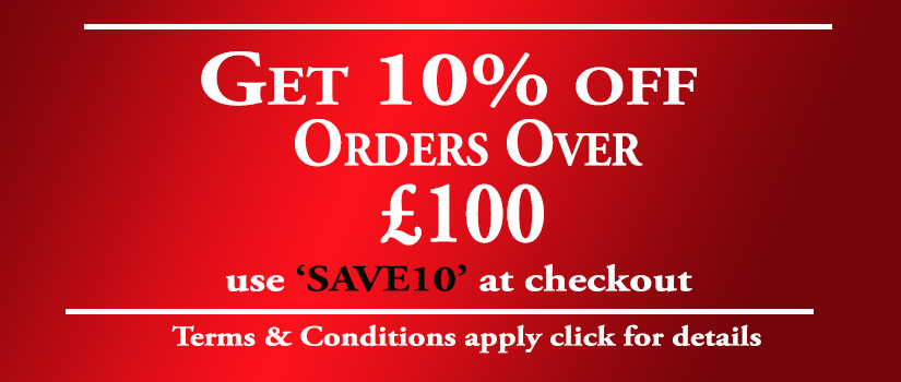 10% off Orders Over £100 with discount Code 'SAVE10