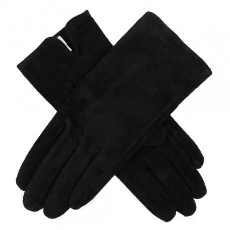 Dents Emily Suede Leather Gloves in Black