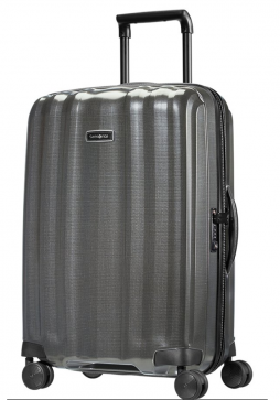 The side view of a Samsonite Lite-Cube DXL 68cm spinner suitcase in the colour Eclipse Grey