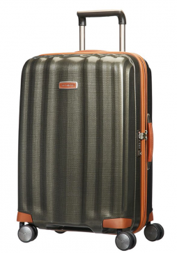 The side view of the Samsonite Lite-Cube DXL 68cm spinner suitcase in olive green.