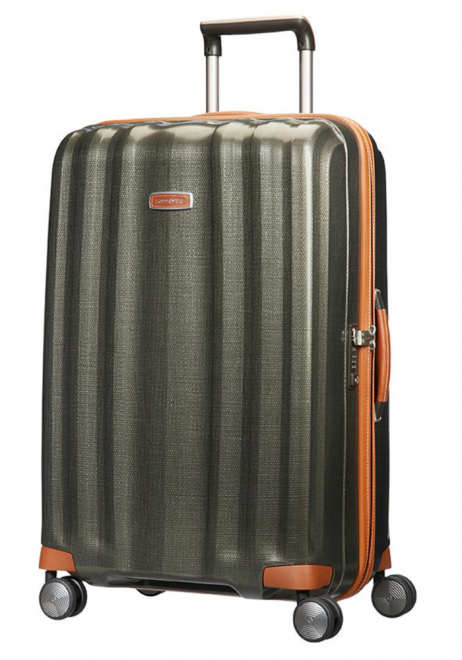 The side view of a Samsonite Lite-Cube DXL 76cm spinner suitcase in Olive green.