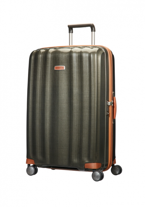 Samsonite Lite-Cube DXL 82cm spinner suitcase in the colour olive green.
