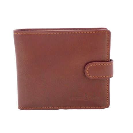 Gianni Conti Brown Leather Wallet with Tab Fasten