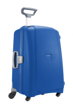A Samsonite Aeris Spinner suitcase, which is 81cm in the colour Vivid Blue