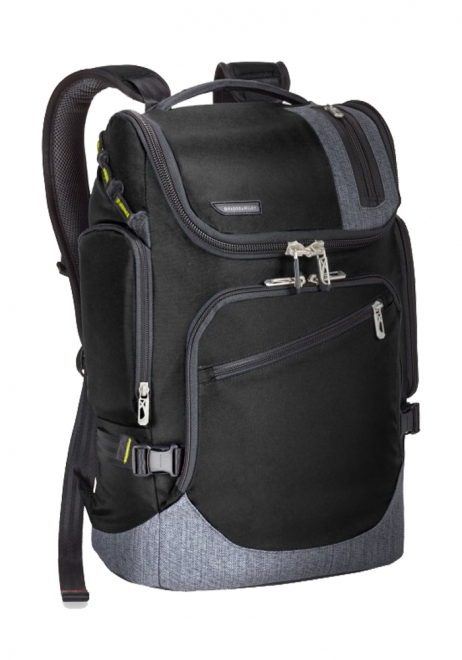 the side view of a Briggs and Riley BRX Excursion Backpack in the colour Black