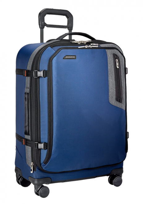 the side view of a Briggs and Riley BRX Explore Medium Expandable Spinner suitcase in the colour blue