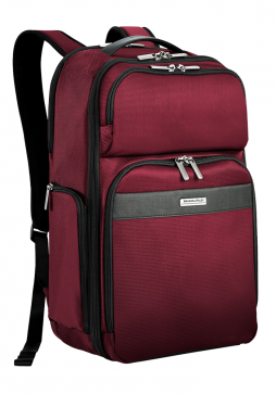 Side View of a Merlot Briggs & Riley Transcend Cargo Backpack