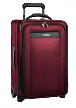 Side View of a Merlot Red Briggs and Riley Transcend Tall Upright Suitcase