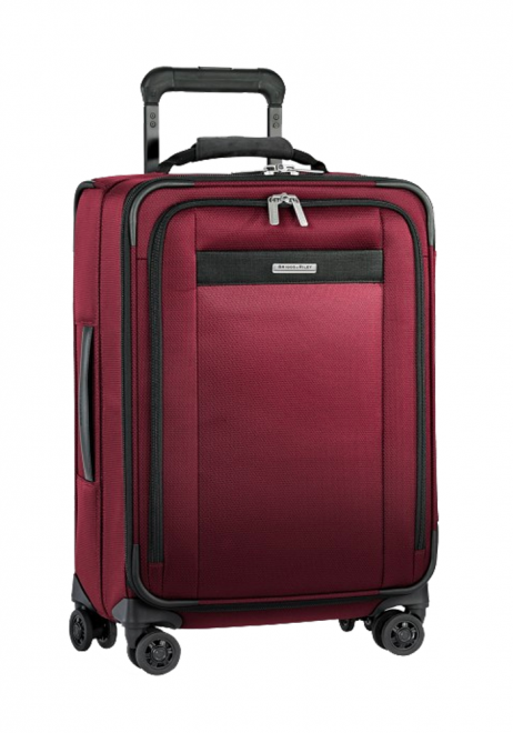the side of a Briggs and Riley Tall Carry-On Expandable Spinner suitcase in the colour Merlot red
