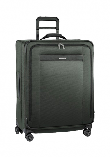 the side view of a Briggs and Riley transcend Medium Expandable spinner suitcase in the colour Rainforest