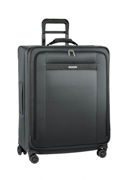 the side of a Briggs and Riley transcend Medium Expandable spinner suitcase in the colour Slate