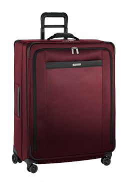 the side view of a Briggs and Riley transcend Large Expandable spinner in the colour Merlot red