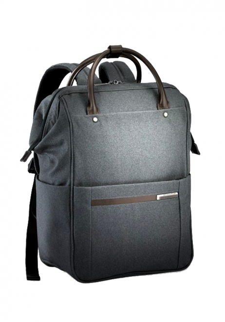 the side view of a Briggs & Riley Kinize Street Framed Wide Mouth Backpack in the colour grey