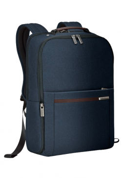 the side of a Briggs & Riley Kinize Street Medium Backpack in the colour Navy