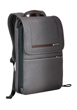 the side of a Briggs & Riley Kinize Street Flapover Expandable Backpack in the colour grey
