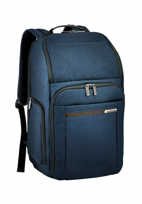 the side view of a Briggs & Riley Kinize Street Large Backpack in the colour navy
