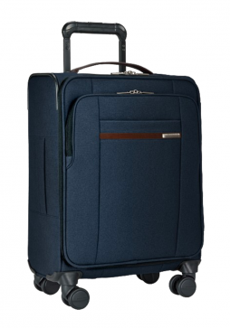 the side view of a Briggs & Riley Kinize Street Carry On Spinner in the colour navy