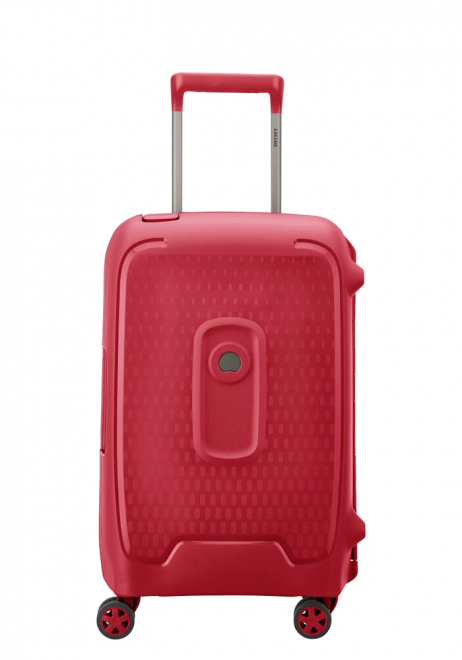 the side view of aDelsey Moncey Spinner Suitcase 55cm Slim in the colour Red