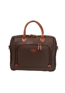 the front of a Jump Uppsala Small Laptop Briefcase 4413 in the colour Chocolate